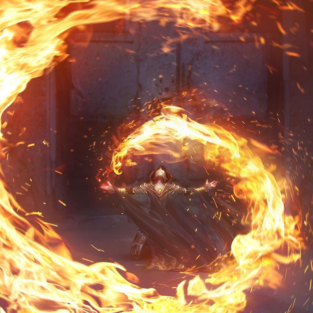 Santa Norvaisaite flame mage sorceress concept art ilustration ignis armiger