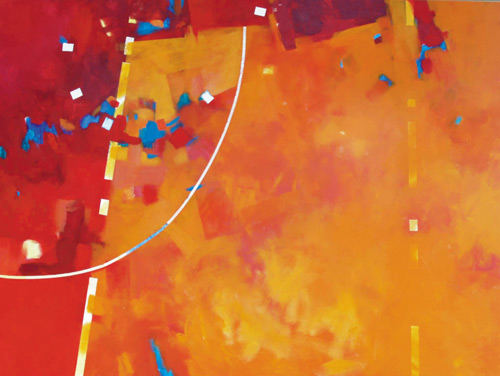 """Random in Orange"" (acrylic on canvas, 36x48) by Mark E. Mehaffey; article on how to paint an abstract painting"