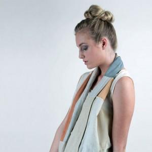Patchwork Scarf created from 100% reclaimed natural fibre fabrics (Photographer: Alan Lunn & Model: Stefanie Haglund)