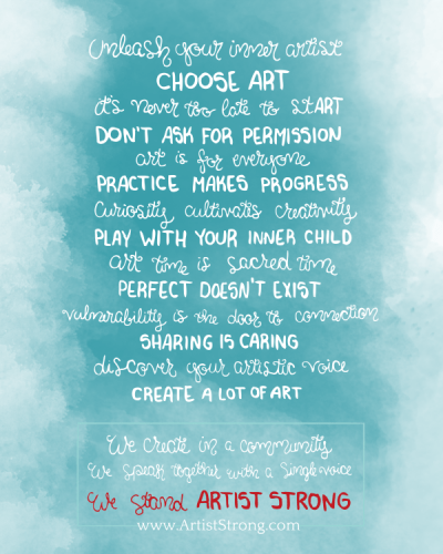 Principles of Artist Strong by Carrie Brummer and Artist Emily Cromwell