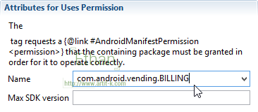 เพิ่ม com.android.vending.BILLING