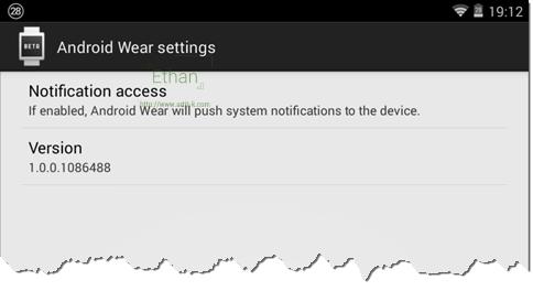 หน้า Setting ของ Android Wear Preview