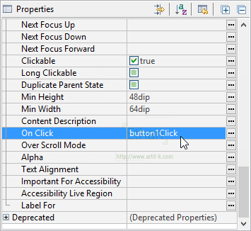 Properties Windows ส่วนหนึ่งของหน้าต่าง Outline เมื่อเปิดไฟล์ layout