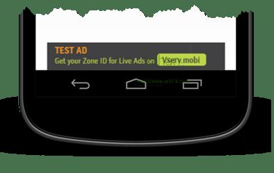 Vserv.mobi Banner เมื่อเรียกใช้งานด้วย Method getAd() + show()