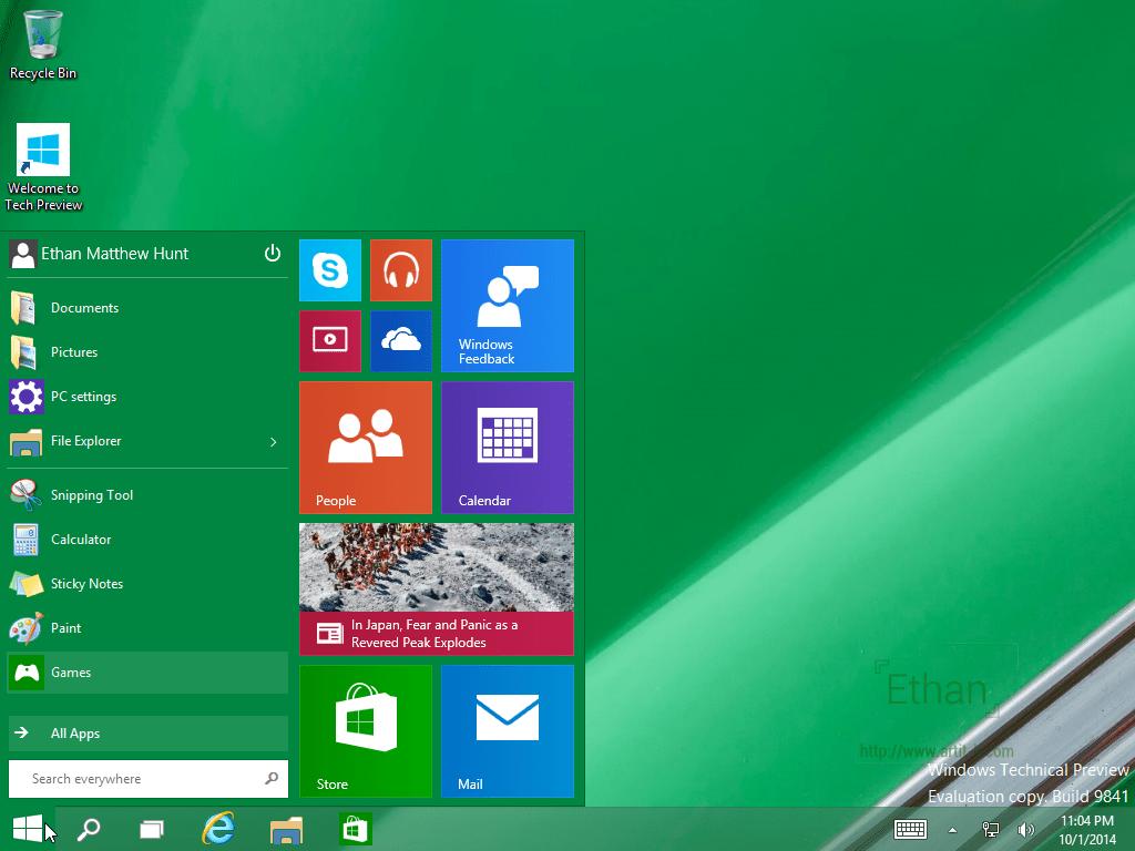 Start Menu บน Windows 10