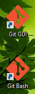 Icon Git GUI และ Git Bash หลังจากติดตั้งเรียบร้อย