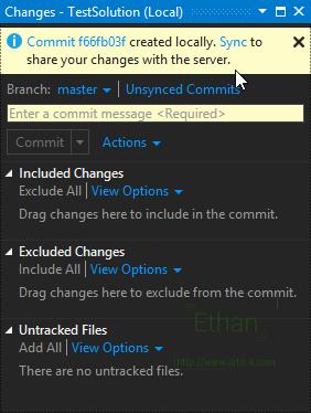 Changes บน Team Explorer windows เมื่อ Commit แล้ว
