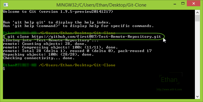 Git Bash แสดงการ Clone จาก Remote Repository