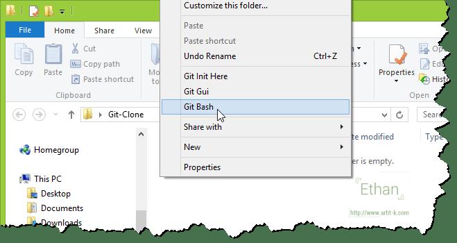 เมนู Git Bash บน Context menu