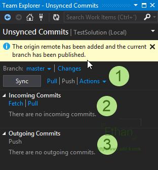 Unsynced Commits บน Team Explorer window