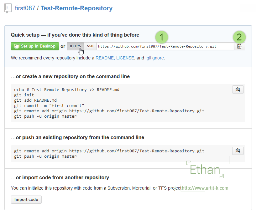 HTTPS URL สำหรับ Remote Repository นี้