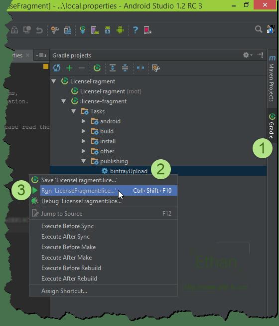 หน้าต่าง Gradle projects บน Android Studio