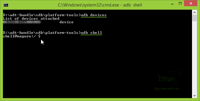 adb shell สั่งงานจาก dos