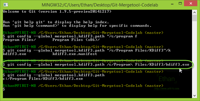 Config path ของ kdiff3 ให้ Git