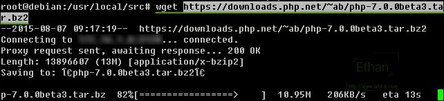 Download php 7 Beta 3 ด้วย wget