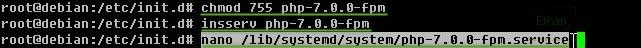 สร้างไฟล์ /lib/systemd/system/php-7.0.0-fpm.service