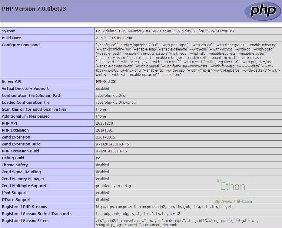 วิธีติดตั้ง php7 บน Linux Debian 8 (Jessie)