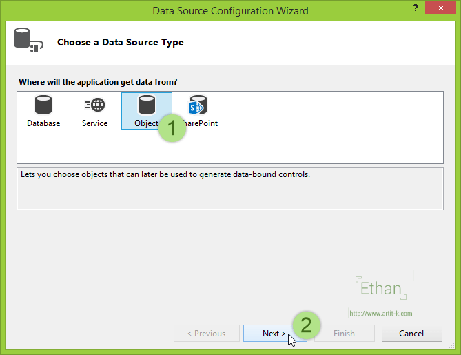 Data Source Configuration Wizard dialog
