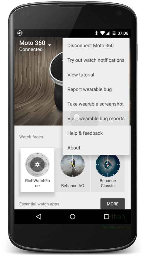 เมนู View wearable bug reports บน App Android Wear
