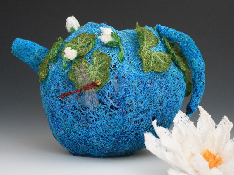 Doughty Designs thread sculpture blue teapot
