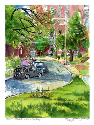 boulevard lasalle on a humid june day verdun watercolor painting