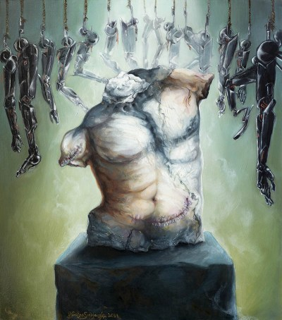 make it work oil painting science fiction art transhumanism