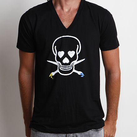 Skullmate V-Neck Tee Black