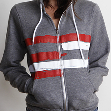 Freedom Womens Hoodie Dark Heather Detail