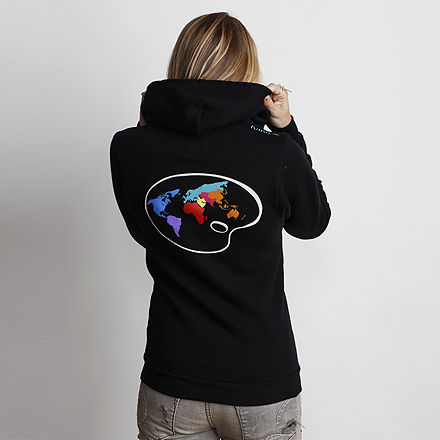 Paint the World Womens Hoodie Black Detail Back 2