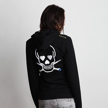 Skullmate Womens Hoodie Black Back