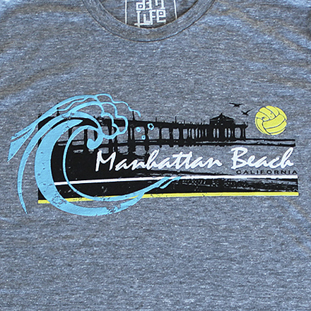 Manhattan Beach Vintage Tee (Grey) - Details
