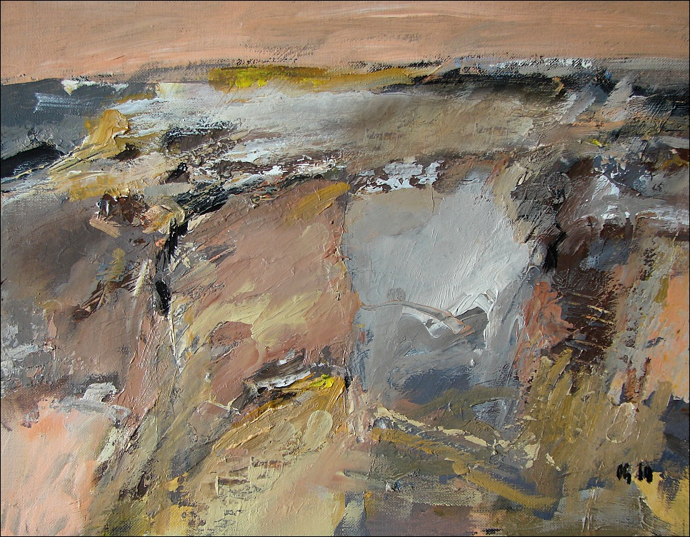 acrylic/oil on Fabriano paper, 24x31cm. In Nature, Scenery, Countryside. Hill 8, painting by George Oncioiu. Image #448618
