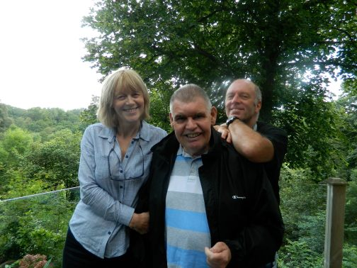 Artist Lawrence Armstong (who created the doodle for the Watertower tree sculpture) with owners Gerry and Susan Goldwyre