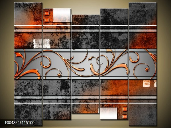 Abstract canvasschilderij 004854 – abstract zwart oranje
