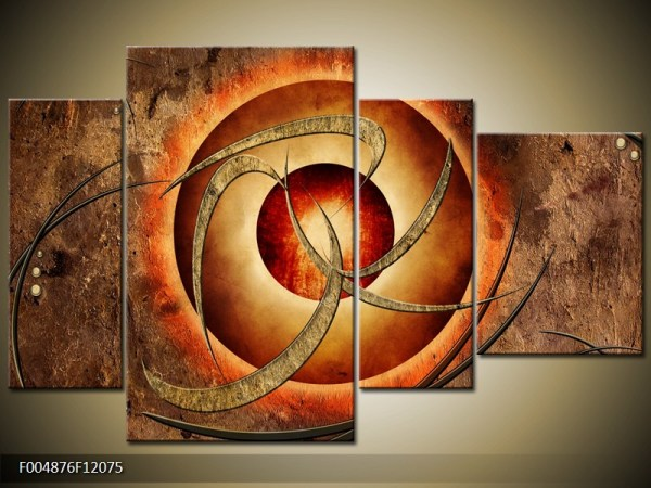 Abstract canvasschilderij 004876 – Atoom in aardetinten