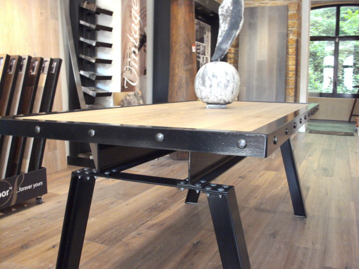 table industrielle bois metal design by