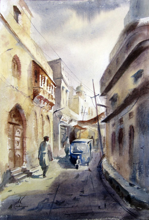 Old Lahore watercolor cityscape Painting by M Kazmi Artmajeur