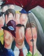 """""""Chacun"""" Huile et éléments 16 x 20. 2002 Collection privée"""
