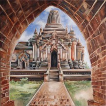 VENDUE -Bagan, huile et acrylique 30 x 30