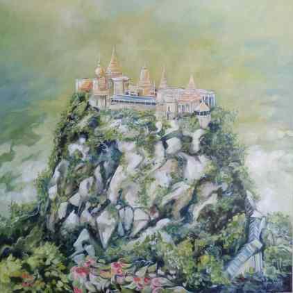 Mont Popa, huile et acrylique 30 x 30