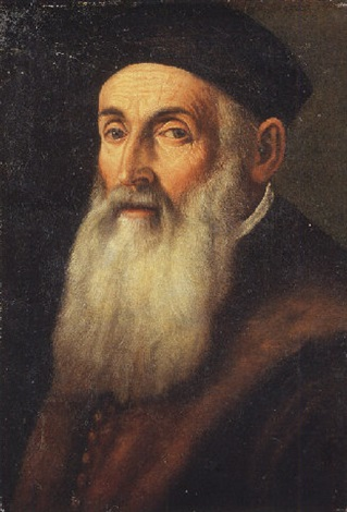 Portrait of a bearded old man in a brown coat with fur collar and a black cap by