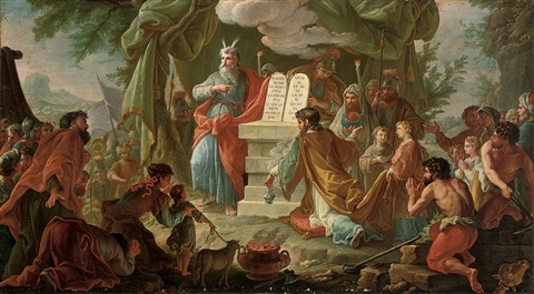 moses on sinai with the tablets of the law before the israelites by pietro da cortona