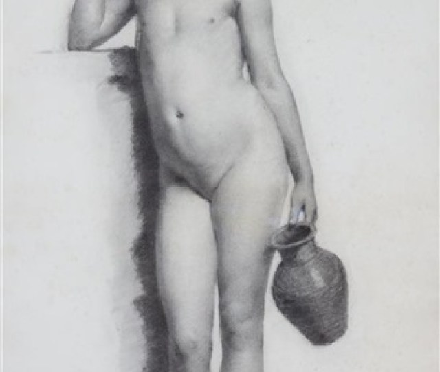 Young Nude Girl Holding Water Jug By William Charles Thomas Dobson