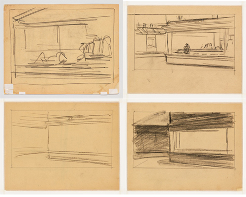Top left: Edward Hopper, Study for Nighthawks (verso), 1941 or 1942, fabricated chalk on paper, 8 1/2 x 10 15/16 in. Top right: Edward Hopper, Study for Nighthawks, 1941 or 1942, fabricated chalk on paper, 8 7/16 x 10 15/16 in. Bottom left: Edward Hopper, Study for Nighthawks (recto), 1941 or 1942, fabricated chalk on paper, 8 1/2 x 11 in. Bottom right: Edward Hopper, Study for Nighthawks, 1941 or 1942, fabricated chalk on paper, 8 1/2 x 11 1/16 in. ALL PHOTOS COURTESY WHITNEY MUSEUM OF AMERICAN ART, NEW YORK; JOSEPHINE N. HOPPER BEQUEST 70.192. ©HEIRS OF JOSEPHINE N. HOPPER, LICENSED BY THE WHITNEY MUSEUM OF AMERICAN ART. DIGITAL IMAGE, © WHITNEY MUSEUM OF AMERICAN ART, NY.