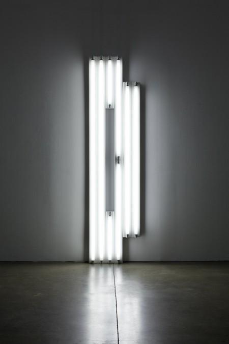 Dan Flavin, untitled (monument for V. Tatlin), 1967, cool white fluorescent light. COURTESY PAULA COOPER GALLERY, NY.