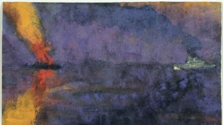 Emil Nolde, Kriegsschiff und brennender Dampfer