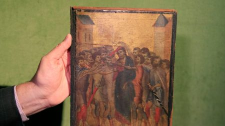 Cimabue's 'Christ Mocked' (ca. 1280).