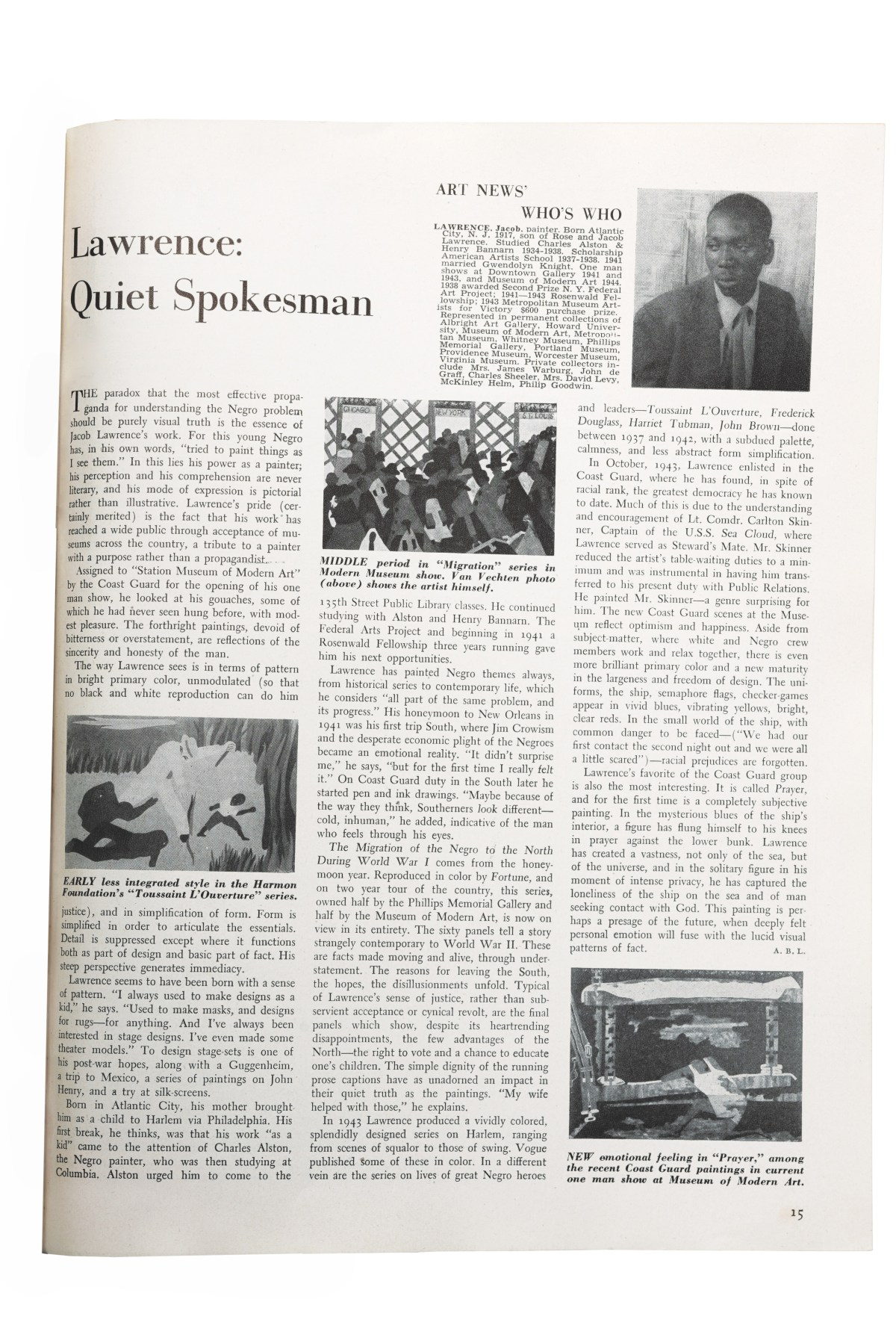 ARTnews Jacob Lawerence profile layout from