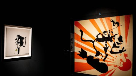 Artworks by British artist Banksy are