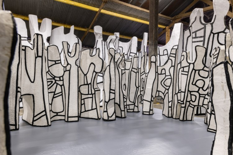 In progress view of Jean Dubuffet's 'Le Cirque,' 1970, polyurethane paint on epoxy